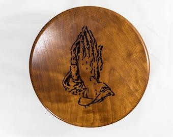 Round wood  box praying hands