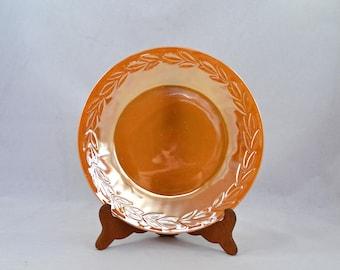 Vintage Fire King Peach Laurel Dinner Plate, Anchor Hocking Peach Lustre Plate