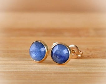Kyanite Earrings, Kyanite stud Earrings, 6mm or 10mm Blue gemstone posts, Gift For Her: 14k Gold Filled, Sterling Silver, Oxidized silver