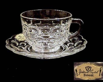 1950s Federal Glass YORKTOWN COLONIAL Pattern Cup & Saucer Set