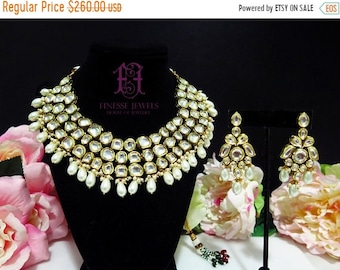 ON SALE Jadau Polki Pearls Necklace, Kundan Necklace, Indian Necklace Set, Kundan Jewelry ,Meenakari, Indian Jewelry
