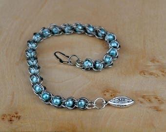 Handmade Captive Blue Pearl Bracelet, Captive Bead Bracelet, Blue Bead Bracelet, Blue Pearl Bracelet