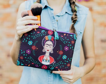 Frida Kahlo Cosmetic Bag with flowers.