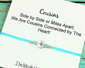 Cousin Compass Bracelet | Gift for Cousin | Compass Bracelet | Long Distance Cousin | Silver Compass Bracelet