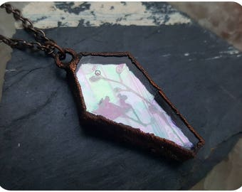 Pressed flowers coffin necklace ~ iridescent stained glass flower electroformed copper nature rainbow locket frame jewelry