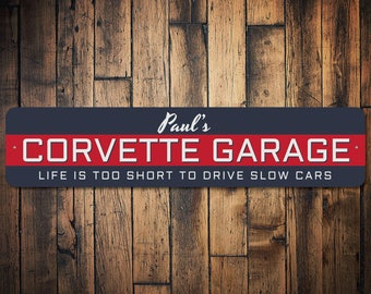 Corvette Garage Gift, Custom Sign for Dad's Corvette Sign, Chevy Garage Decor, Chevy Car Collector Gift  - Quality Aluminum Sign ENS1002643