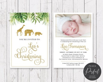Christening or Birthday Invitation, Gold Glitter Safari, Baptism Christening Invites, Professionally Printed, Double Sided | Peach Perfect