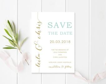 Wedding Save the Date, Mint and Gold, Printable or Professionally Printed, Modern Fonts, Free Colour Changes, Urban Elegance