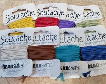 Beadsmith Rayon Soutache, 3 yd  - Braided Cord, Soutache Trim, Soutache Braid, 3mm Flat Cord