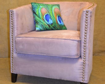 Tub Chair in Lilac and Nickel Studs
