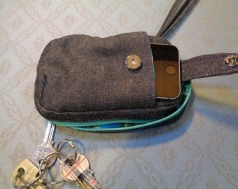 Wristlet bag, charcoal denim, turquiose zip and lining. Ideal for carrying small items ie keys change makeup etc.Outside slip pocket.