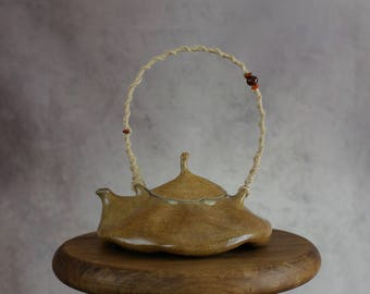 Ceramic Teapot with Rope&Beads Handle, Handmade Ceramic Tea Pot