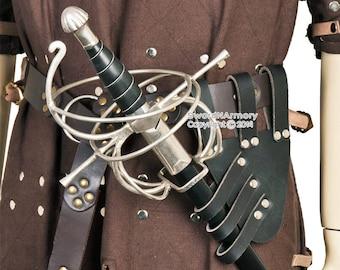 Renaissance Black Genuine Leather Rapier Sword Belt Frog Holder