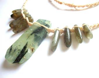 SOLD Prehnite and labradorite healing crystal macrame necklace, meditation jewellery, spiritual jewellery, tribal jewellery