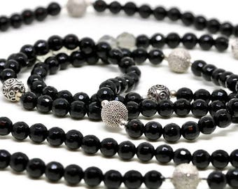 Black Onyx Bead Necklace, Long Black Onyx Necklace, Black Onyx and Sterling Silver Bead Necklace