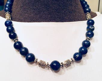 Lapis Lazuli Beaded Necklace, Lapis Bead Necklace, Blue Lapis Bead Necklace