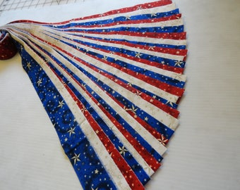 "Honey buns, 30--1 1/2"" x 44"" strips, red, white and blue, gold stars and dots, cotton, die cut FREE US SHIPPING"