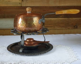 Vintage Swiss copper fondue set - Stockli Netstal fondue set with tray - Hand hammered copper