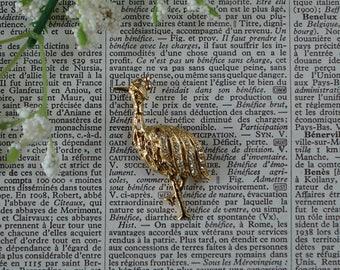 Vintage BIRD Brooch - Ostrich - Bird Gold Tone Brooch - Clear Rhinestones - Gold Tone Metal - Ostrich Jewelry- Vintage Jewelry- Bird Brooch