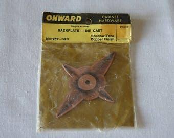 Vintage Onward backplate - Cabinet hardware - Drawer door knob backplates - 787-STC - Shadow-tone copper finish