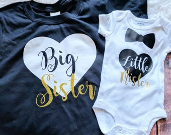 Sibling shirts, matching sibling shirts, big sister little brother shirts, Big sister little mister shirts, kids shirts