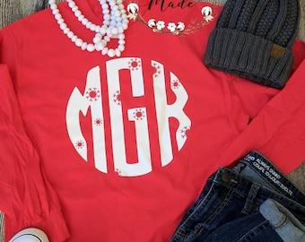 Christmas shirt, women's Christmas shirt, winter shirt, monogrammed Christmas shirt, long sleeve Christmas shirt, women's custom Christmas