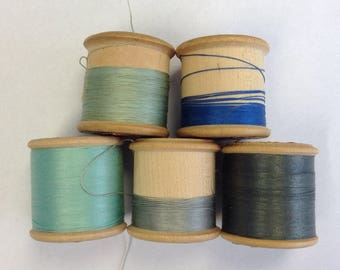 5 cotton reels of Silko thread on wooden spools