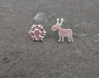Christmas earrings   Festive studs   Snow flake   Reindeer