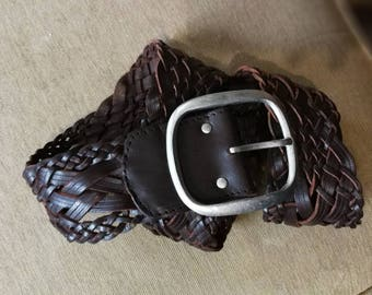 Leather Belt, Full Grain Leather Belt, Brown Leather Belt, Braided belt, Womens Leather Belt