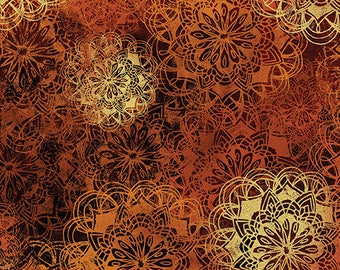 Sun Valley, Tumbleweed Rust on Black, Red, Rust and Orange medallions, by Benartex 8649-88
