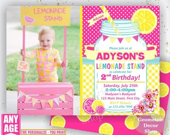 Pink Lemonade Stand Birthday Invitation, Lemonade Birthday, Mason Jar Invite, Pink Lemonade Printable Invite, DIY Printable invite BDL3