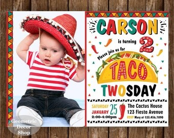 Taco / TWOsday / birthday invitation / birthday invite / red / green / 2nd / second / boy / invites / Photo / Photograph / fiesta / BDTaco1