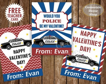 Police / car / red / blue / Valentine / Card / Valentines / Valentine's / Day / Personalized / Tags / teacher / Kids / Classroom /VCard13