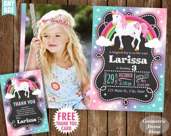 Unicorn Birthday Invitation Pink Invitations Girl Invite Invites Magical Day Rainbow Photo Photograph Purple Aqua Teal Chalkboard BDU15/12