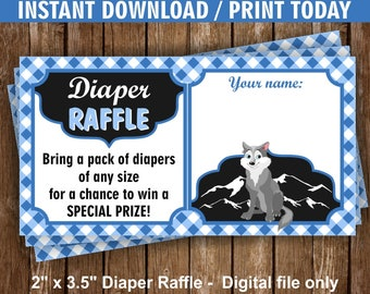 Wolf / Blue / Plaid / Chalkboard / Diaper / Raffle / Request / insert / baby / shower / Instant / download / Ticket / Cards /DiaperWolf1