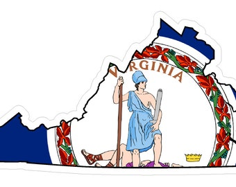 Virginia State (Q46) Shape Flag Vinyl Decal Sticker Car/Truck Laptop/Netbook Window