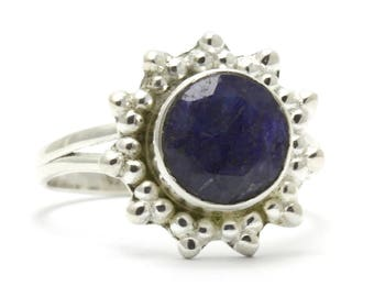 Created Sapphire Ring, 925 Sterling Silver, Unique only 1 piece available! SIZE 6.50 (inner diameter 17mm), color navy blue, weight 2.8g,