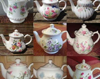 Job Lot of 2 **SMALL** Vintage Mismatched Teapots Floral Chintz - Perfect Bulk Tableware for a Mad Hatters Tea Party or Wedding etc!