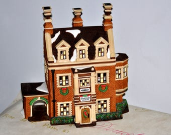 DEPT 56 Dursley Manor Handpainted Porcelain Christmas Village Lighted House, Christmas House, Collectible House, Department 56