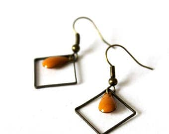 Earrings mustard enameled Sequin Bronze square ring ° °