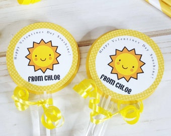 6 Personalized Sunshine Themed Bubble Valentine's Day Favors