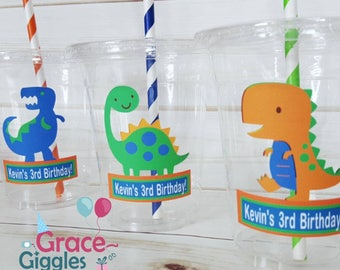 12 Personalized Dinosaur Themed Party Cups with Lids and Straws!