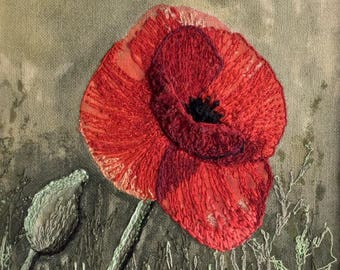 Hand and Free Motion Machine Embroidery Textile Fibre Art Picture Poppy