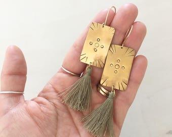 Sage Tassel Earrings