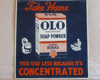 "Vintage 1940's OLO SOAP POWDER kitchen laundry 16"" metal sign-original~nice"