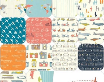 ON SALE // Trans Pacific by Jay-Cyn Desighs for Birch Organic Fabrics -  Complete Fat Quarter Bundle - ORGANIC cotton -13  Prints
