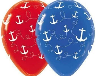 ON SALE 20 Anchors Away Nautical Latex Balloons Travel agent Bon Voyage Baby Shower Birthday Party Wedding Decor