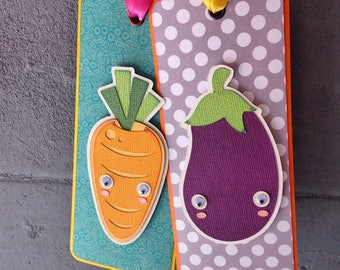 "Handmade paper and paperboard bookmarks with scrapbooking. Collection ""MIXED SALAD""."