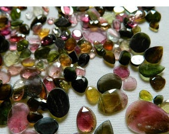 ON SALE 50% Tourmaline Rose Cut, Pink Tourmaline, Green Tourmaline, Flat Cabochons, Rose Cut Cabs, Polki, 50 Pieces - 5mm To 13mm Each