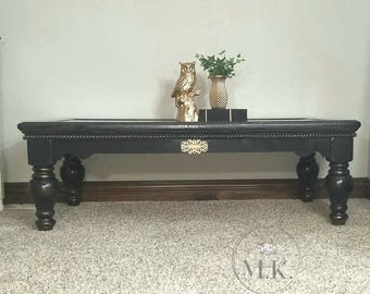 Black With Gold Accents Coffee Table And End Tables